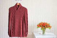 Get free knitting pattern of stylish & luxury Shawl Collar Cable Pullover. Sizes: 48 and 52 inch chest measurements, suit both men & women. Free Knitting Patterns For Women, Sweater Knitting Patterns, Knit Patterns, Craft Patterns, Mens Shawl Collar Cardigan, Mens Cable Knit Sweater, Knitted Shawls, Diy Clothes, Free Pattern