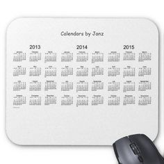Black and White 3 Year 2013-2015 Calendar Mouse Pad Design from Calendars by Janz
