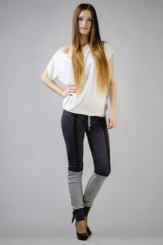 Grafitowe spodnie damskie z elementami szarego