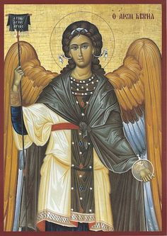 Orthodox byzantine icon of Archangel Gabriel