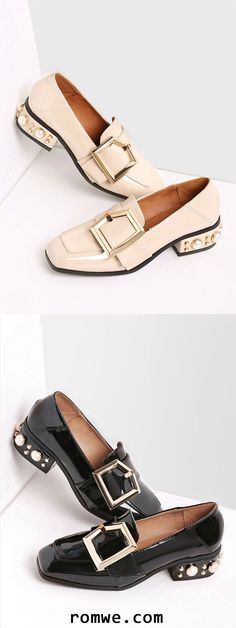 Buckle Design Square Toe Shoes