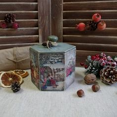 Wooden box. Decoupage box. Christmas box. by HelenBeautydecoupage