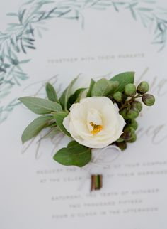 A rustic-romantic wedding day at Sunstone Winery with white bridesmaids dresses, leaf place cards, and an al fresco reception. Corsage Wedding, Bridesmaid Bouquet, Wedding Bouquets, Wedding Flowers, Wedding Boutonniere, Boutonnieres, Mod Wedding, Fall Wedding, Wedding Ideas
