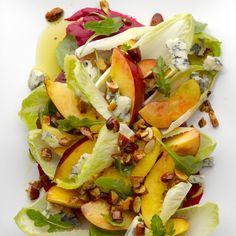 Sweet summer salad: Nectarine, almonds, endive, gorgonzola with beet/honey/dijon/garlic/cider vinegar dressing