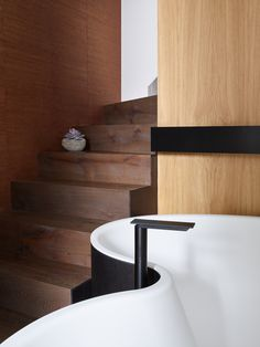 Bathtub by Agape (DR, Studio by Marcio Kogan and Mariana Ruzante) Tap and towel holder by Agape (Sen by Gwenael Nicolas (Curiosity) Interior design by Valentine Bärg Architectures Towel Holder, Curiosity, Toilet, Bathrooms, Sink, Bathtub, Interior Design, Studio, Architecture
