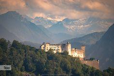 Fortress Hohensalzburg in Salzburg at Sunset by Christoph Oberschneider on Salzburg, Austria, Mount Everest, Landscapes, Mountains, Sunset, Instagram, Places, Nature