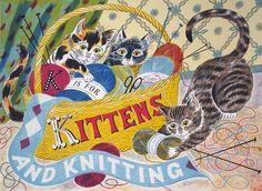 """K is for Kittens and Knitting"" by Emily Sutton for the Penfold Press (screenprint)"
