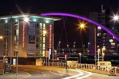 The Hilton Garden Inn hotel beside the Clyde Arc bridge by PhotobombPhotography on Etsy