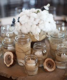 cotton and burlap - 29 Jaw-Droppingly Beautiful Wedding Centerpieces.