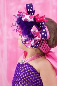 Purple and Hot Pink Over the Top Hair Bow 6 by BBOWSBOUTIQUE