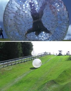 """Oddee: """"This is an extreme sport which allows adrenaline junkies to roll down a hill in a giant inflatable ball. Adventure company Have You Got The Ball Ltd from Bryn Coch Farm, Whitford, near Holywell [New Zealand], offers an experience called sphereing, also known as zorbing."""""""
