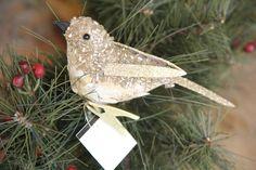 NWT Pottery Barn Sequin Beaded Bird Clip Christmas Holiday Ornament (1) Gold #PotteryBarn