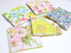 """100 5"""" Vintage sheet charm pack bundle, 5 x 5, Fabric squares, For Quilts, Sewing,"""
