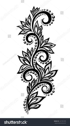 Isolated floral design element With the effect of lace eyelets.Illustration of black and white flowers and leaves Floral design element in retro style vector art, clipart and stock vectors. lace EPS clipart vector and stock illustrations available to Design Floral, Lace Design, Floral Motif, Lace Tattoo Design, Henna Tattoo Designs, Mehndi Designs, Tattoo Ideas, Hand Embroidery Designs, Floral Embroidery