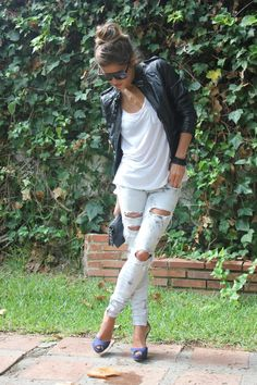 destroyed skinny jeans, leather jacket, white t