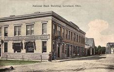 """National Bank Building"" with bridge on right Danzig, Loveland Ohio, Banks Building, Historical Photos, Cincinnati, Louvre, Street View, History, Buildings"
