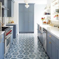 "Alhambra Tile | encaustic cement tile moroccan pattern 8"" x 8"" erite blue back splash option"