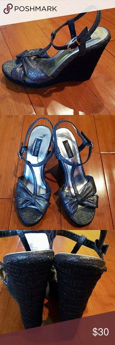 NWOT - BLACK & SILVER WEDGE SANDALS NWOR- SUPER CUTE White HOUSE Black MARKET SANDALS.  Black and Silver fabric upper w/black woven wedge.  Size 8 White House Black Market Shoes Wedges