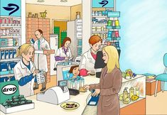 pharmacy to describe Speech Language Therapy, Speech And Language, Love Illustration, Character Illustration, Teaching Spanish, Teaching English, Play School Toys, Exam Pictures, Sequencing Pictures