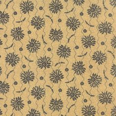 Sturbridge -  black flowers/leaves on tan crackle with wavy lines 6071 13