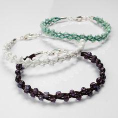 Bracelet in leather with decoration of rocaille beads tutorial - Armband i läder med dekoration av rocaipärlor
