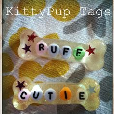KittyPup Resin Collar Tags (one of a kind, hand poured resin)