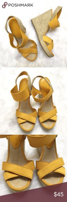 """[Nine West] yellow """"Jealous"""" espadrille wedges - Size: 8.5 - Condition: some marks on the front bands. See 3rd photo - Color: yellow and tan - Closure: none; has stretchy elastic - Style: yellow espadrille wedges - Extra notes:  *Measurements:  Wedge height: 5""""  Bundling is fun, check out my other items! Home is smoke free. No trades, holds, modeling, or negotiations in comments. Nine West Shoes Espadrilles"""
