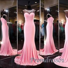 2016 beautiful pink chiffon long prom dress with sequins neck, ball gown, modest prom dress #coniefox #2016prom