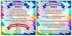High Resolution DepEd Mission - Vision - Core Values Layout and Designs for Tarpaulin, Tarpapel and Bulletin Classroom Rules Poster, Classroom Charts, Classroom Jobs, Classroom Bulletin Boards, Classroom Design, Elementary Bulletin Boards, Birthday Bulletin Boards, Classroom Birthday, Bulletin Board Design