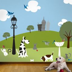 Tree Wall Stencils, Cats and Dogs Mural for Baby Room, 49 Wall Stencils