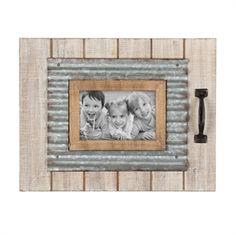 Foreside Home & Garden - 4X6 Slatted White Wood Photo Frame