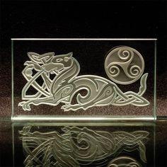 Celtic Dog Etched Glass Art  Sandblasted by ImaginedGlass on Etsy, $60.00
