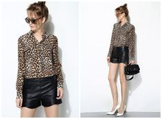 leopard print shirt for womenlong by HerselfStudios on Etsy