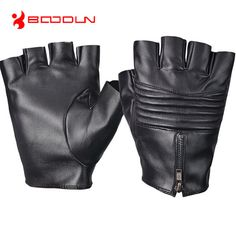 Boodun Fitness Driving PU Leather Fingerless Gloves For Men Black Leather Gloves Summer gloves