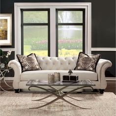 Furniture of America Agatha Traditional Tufted Sofa   Overstock™ Shopping - Great Deals on Furniture of America Sofas & Loveseats