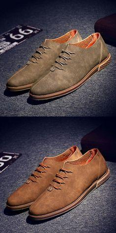 New Arrival Men Casual Shoes Italian Shoes Man Flats Shoes Fashion Suede Anti Slip Lace-Up Oxford Moccasins Plus Size Shoes