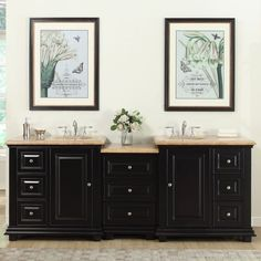 This charming double sink modular vanity is simple yet exquisite. The vanity has a thick travertine stone top profile with the handsome dark espresso cabinet finish creating a dynamic appearance. Let this lovely vanity add elegance to your bathroom.