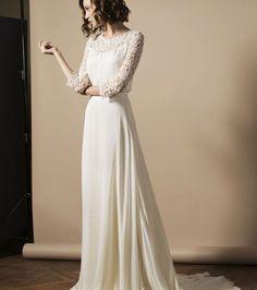 Robe+de+mariée+manches+longues+en+dentelle+