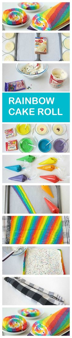 Cake Roll A bright and colorful rainbow cake roll filled with rainbow chip frosting.A bright and colorful rainbow cake roll filled with rainbow chip frosting. Rainbow Chip Frosting, Rainbow Icing, Baking Recipes, Dessert Recipes, Cake Recipes, Frosting Recipes, Decoration Patisserie, Rainbow Food, Rainbow Cakes
