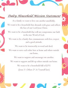 Our family mission statement.