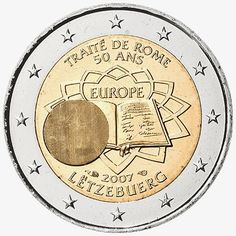 2 Euro Commemorative Coins: 2 euro coins Luxembourg 2007, 50th anniversary of the Treaty of Rome. Commemorative 2 euro coins from Luxembourg