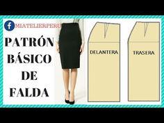 PATRÓN BÁSICO DE FALDA - YouTube Chor, Dress Sewing Patterns, Crochet Granny, Couture, Dresses For Work, Knitting, Instagram, Base, Kebaya Brokat