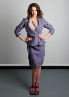 This Vivienne Westwood Anglomania suit is made up of the Lavender Tempest de Corps Jacket and matching Justice skirt - the most perfect, feminine look in stretch linen, that's divine on busty women who wear D to H cup sizes www.saintbustier.com
