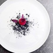 Beetroot ice cream with liquorice soil Wine Recipes, Gourmet Recipes, Gourmet Desserts, Gourmet Foods, Food Plating Techniques, Modernist Cuisine, Plate Presentation, Fancy Desserts, Beetroot