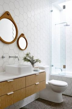 Gorgeous Modern Bathroom Design And Decor Ideas - Bathrooms are not simply bathrooms any longer and a few standards of modern bathroom should be fused in planning a bathroom space utilizing modern str. Mid Century Modern Bathroom, Modern Bathroom Tile, Bathroom Floor Tiles, Bathroom Wall Decor, Bathroom Interior Design, Small Bathroom, Modern Bathrooms, Bathroom Ideas, Master Bathroom
