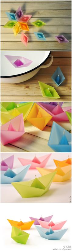 floating boat candles... I wonder if you could fold origami boats with sheets of honey comb wax and add a wick? via duitang.com