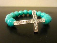 Turquoise Bracelet with Rhinestone Cross by Via Francesca
