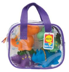 Phthalate-Free - Alex Bath Squirters - Dinos In Bag by Alex Toys. $30.96. Recommend age: 6 months & up. Phthalate-free. Alex Bath Squirters - Dinos In BagSoft, chubby, colorful bathtub squirters are the perfect size for little bathers to hold and squeeze. Lots of fun for little squirts! Each set contains 4 dinosaur squirters. Phthalate free.Dimensions: 6.3 x 4.9 x 2.6 inchesDisclosure: Suggested age is 0 - 18 years Product may contain Small parts Not suitable for children unde...
