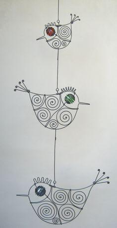 Escultura móvil de alambre tres aves por MyWireArt en Etsy