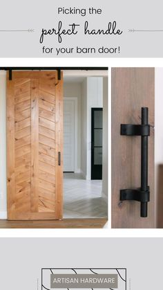 Once you've picked out your barn door and barn door hardware it's time to pick out a handle! Click to read more! Sliding Barn Door Hardware, Barn Doors, Tall Cabinet Storage, Handle, Ideas, Home Decor, Barnwood Doors, Decoration Home, Room Decor